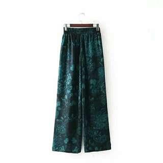 歐美時尚休閒渡假日韓系復古文青個性簡約造型都會叢林印花高腰闊腿褲寬褲