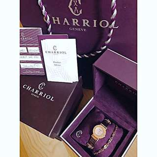 Charriol St Tropez Rose Gold Pink MOP Diamonds Bronze Quartz Swiss Ladies Watch cartier bvlgari 瑞士名牌夏利豪新款古銅綱索玫瑰金 粉紅貝母 羅馬字 鑽石女裝手錶