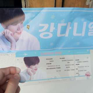 Wanna One kang daniel banner + boarding pass