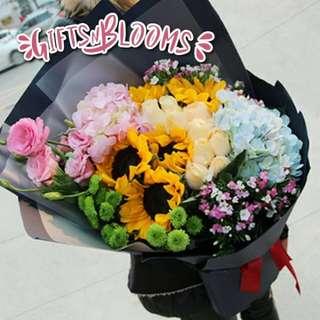Fresh Flower Bouquet Anniversary Birthday Flower Gifts Graduation Roses Sunfowers Baby Breath -  37F48