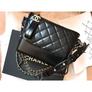chanel gabrielle bag small double chain bag black colour hermes 流浪包黑色細size