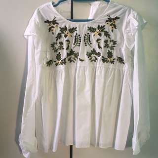 Embroidered white long sleeve
