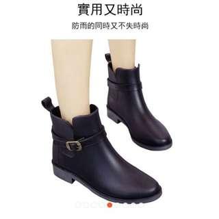 🚚 黑色霧面時尚雨鞋37號