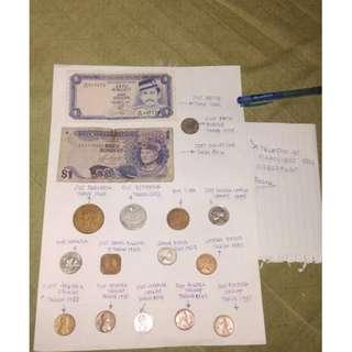 duit kertas lama dan siling