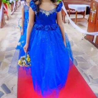 Royal blue princess-like gown