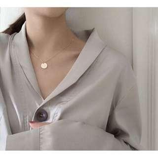 韓版簡約百搭氣質小圓片極細鍊氣質鎖骨鍊 極簡項鍊 吊墜飾品