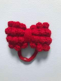 Handmade Red Knotty Bow Hair Tie
