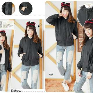 Bomber Despo  Black  bahan despo tebal empuk fit to L