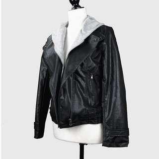 Leather Jacket With Detachable Hood