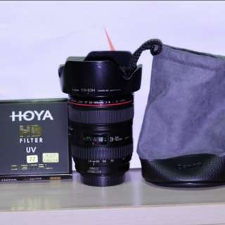 Canon 24-105mm F4 with HOYA UV filter new