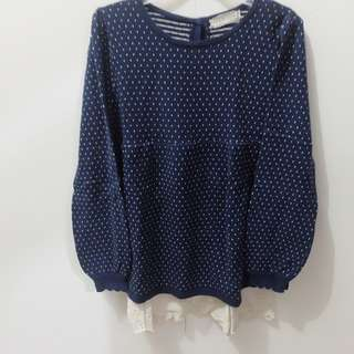 Navy Long Sleeve Dot Blouse with Lace