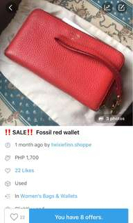 Authentic FOSSIL sling wallet