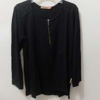 Black Longsleeve Blouse with Lace on the shoulder (Fit to M)