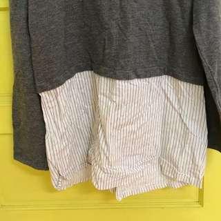 歐美品牌Zara 正品空運灰上衣下有條紋拼接長袖拼接上衣