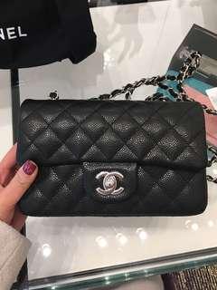 ❣️New Chanel Mini 20 rectangular Black Caviar SHW ❣️