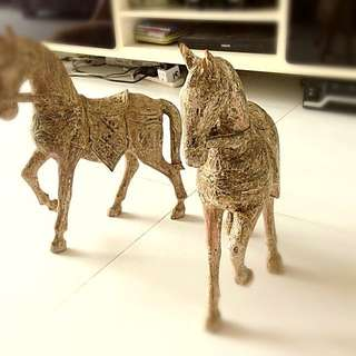 Pair Of Wooden Scripture Galloping Horses