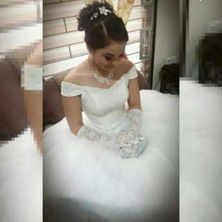 White ball gown for rent