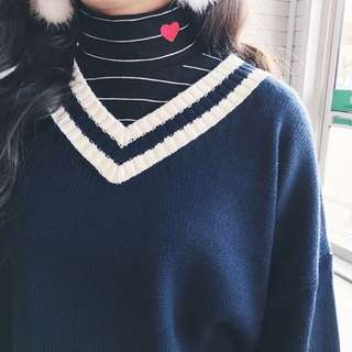 V Neck Sweater Navy Striped
