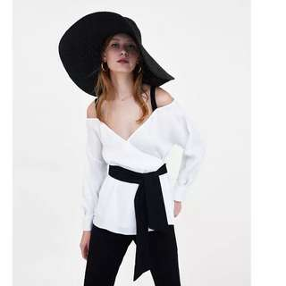 European and American style hit the color belt bow shirt V-neck loose shoulder shirt