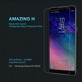 Nillkin anti-burst tempered glass protective film for samsung a8+ 2018