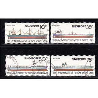 SINGAPORE 1978 10TH ANNIV. OF NOL COMP. SET OF 4 STAMPS SC#308-311 IN FINE USED CONDITION