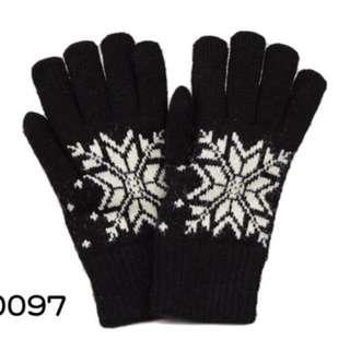 🚚 全新雪花雙層保暖手套-黑