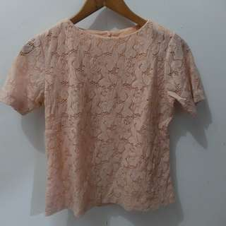 Preloved lace Peach Top