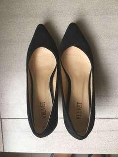 Velvet black high heels