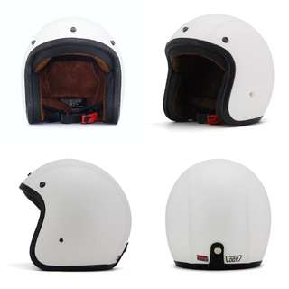 White Leather Motorcycle Helmet Open Face Three Button Snap Retro Vintage Vespa Scooter Cafe Racer Motorbike Leather Gloss Old School Harley Davidson
