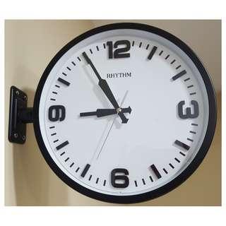 RHYTHM QUARTZ Two-Sided Railway Station Style Wall Clock