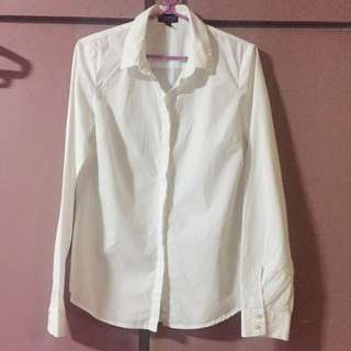 Topshop white button down long sleeves