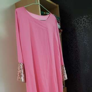 Pink Jubah with sequin sleeve