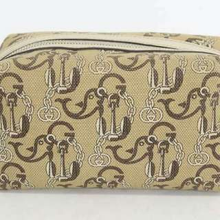 Authentic Gucci Limited Edition Anchor and Dolphin Print Canvas Pouch.. 2nd Pouch in Very Good Condition💚💚💚