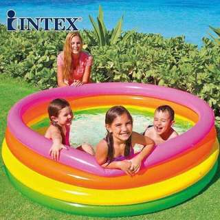 Intex Rainbow 4Ring Inflatable Outdoor Swimming Pool