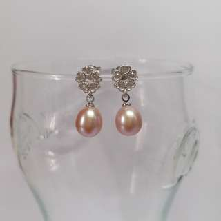 925 silver earrings with CZ & 8mm drop shape natural lavender color pearl.