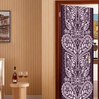 Home Decor Purple White Floral Abstract self-adhesive