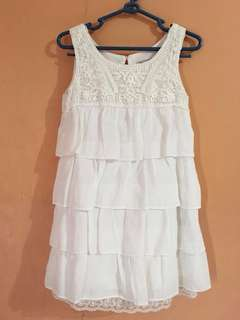 Zara Girls White Sleeveless Dress