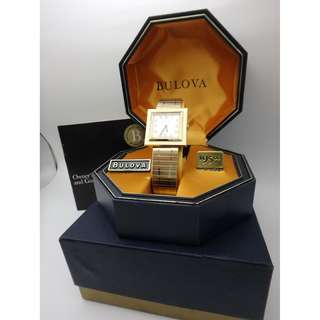 1969 BULOVA 方形17J gold tone SWISS MADE 上鍊手錶 w/Box