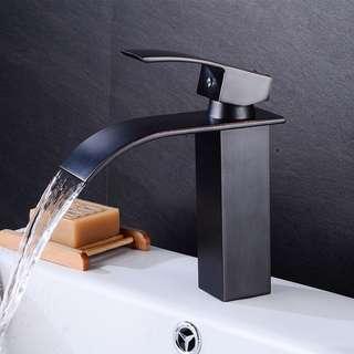 Modern Waterfall Tap Bathroom Basin Mixer Taps Square Sink Mono Luxury Faucet
