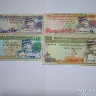Brunei Currency $1 $5 $10 n $50 note