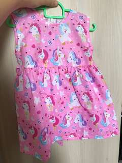 Instock Unicorn dress pink baby girl kid infant