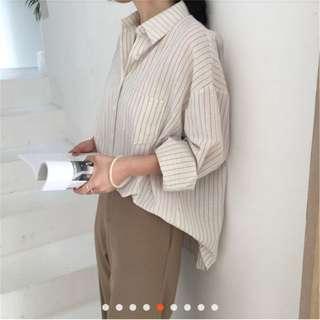 條紋襯衫 寬鬆知性韓版
