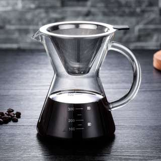 玻璃咖啡壺 免濾紙防燙設計 手沖玻璃壺 咖啡玻璃壺 400ml
