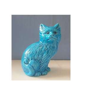 Vintage turquoise porcelain cat circa 1950s hand crafted new from old stock