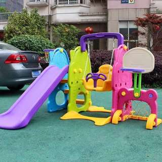BIG SALE!5in1 Foldable Slide Swing,Basketball and Soccer
