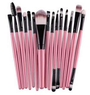 15+ FULL SIZE Pink Makeup Brushes
