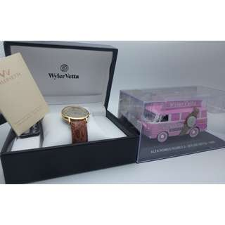 Wyler Vetta-swiss made~ 日曆皮帶石英手錶 w/Box + 贈品 ( die casting car) 一部
