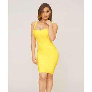 Designer Harpers Dress Bandage Yellow