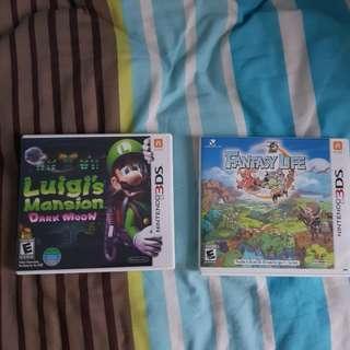 Luigi mansion and fantasy life 3DS