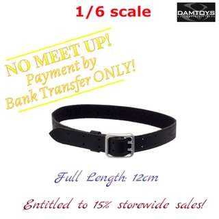 1:6 scale DAM TOYS Black Leather Belt with Buckle (Silver). *Entitled to 15% storewide sales!